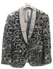 Blazer Fashion Party Paisley ~ Sequin Sport Coat Blazer Dinner Jacket Tuxedo