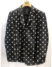 Mens Black Polka Dot Pattern Dress Casual Blazer