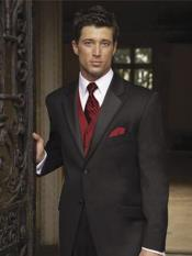 Mens Black Suit + Shirt + Red Vest & Tie Package
