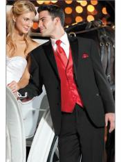 Black Suit + Shirt + Red Vest & Tie Package