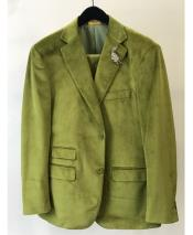 Velvet ~ Velour Sport Coat Mint ~ Green ~ Lime Mens blazer Ticket Pocket Fashion Casual velour