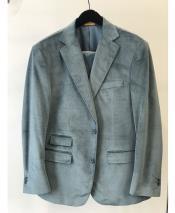 Mens Velvet ~ Velour Sport Coat Ticket Pocket Fashion Casual Jacket Sky Baby Blue ~ Light BlueBlazer