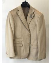 Mens Velvet ~ Velour Sport Coat Blazer Ticket Pocket Fashion Casual Jacket Sand ~ Tan ~ Khaki
