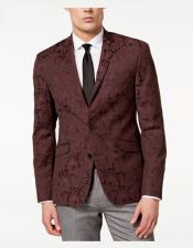 Mens Slim Fit Paisley Pattern Burgundy
