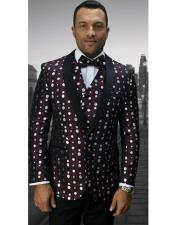 Mens Flashy Shawl Lapel Burgundy and White Dots ~ Maroon Suit