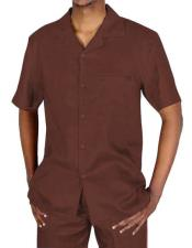 Button Closure Brown Short