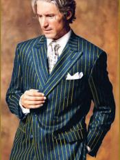 Blue and Gold Chalk Pinstripe ~ Stripe Double Breasted Suit Bold Wool Suit