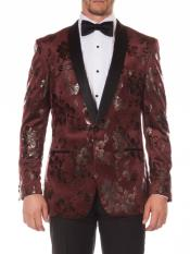 Floral ~ Flower Stage Shiny Prom Stage Dinner Jacket Tuxedo Blazer Red
