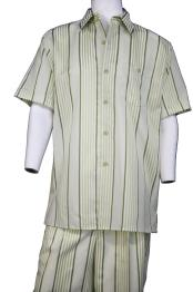 Lemongrass Stripe Point Collar Short Sleeve Walking Suit