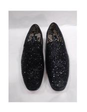 Shiny Black Crystal Slip On Tuxedo Stylish Dress Loafer Shoe For