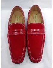 Mens Leather Lining Red Slip On Cushioned Insole Shoes - Red Mens