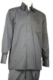 Button Fastening Cage Stripe Walking Suit