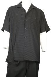 Polka Dots Short Sleeve Button Fastening Walking Suit