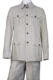 Victorian Stripe Button Fastening Vintage Quad Walking Suit