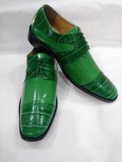 Two Tone Tie Up Style Wingtip Green ~ Apple ~ Lime Lace UP Dress Shoes