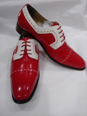 Two Tone Lace Up Red & White Cap Toe Lace UP Shoe