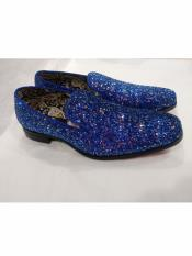 Slip On Style Amazing Glitter Royal Dress Loafers Shoes