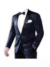 Dark Navy 1 Button Shawl Lapel james bond Suit