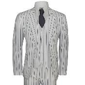 Mens White and Black Bold Chalk Pinstripe ~  Stripe 2 Buttons Vested 1920s Vintage suit