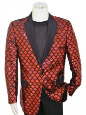 Pronti Diamond Designed Black ~ Red Cheap Priced Blazer Jacket For Men