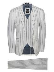 White and Black Stripe Pimp Fashion ~ Gangster Mobster Suit Custom