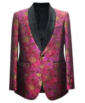 Mens Fuchsia One BUtton Flap Front Pockets Sport Coat