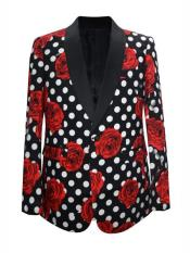 Mens Black Floral ~ Dot Pattern Shawl Lapel Blazer