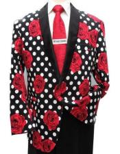 Mens Black ~ White ~ Red Floral One Button Sport Coat