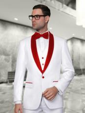 and Red Lapel Tuxedo Vested 3 Pieces Suit  Perfect for