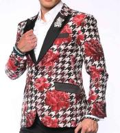 Red Polka Dots Notch Lapel Single Breasted Jackets Blazer