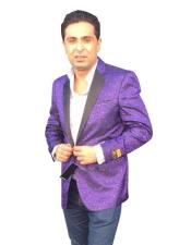 Purple Notch Lapel Single Breasted Jackets Blazer