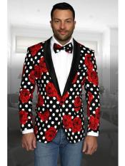 Mens Black and Red Floral Polka Dots Pattern Cheap Priced Sport Coats