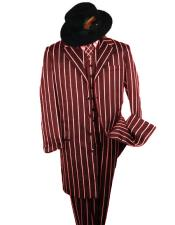 SHIMMERY GANGSTER Alberto Nardoni Burgundy And Bold Pronounce White Stripe ~ Pinstripe Fashion Longer Jacket Mens Suits