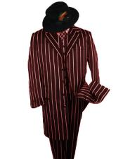 SHIMMERY GANGSTER Alberto Nardoni Dark Burgundy And Bold Pronounce White Stripe ~ Pinstripe Fashion Longer Jacket Mens