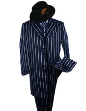 SHIMMERY GANGSTER Alberto Nardoni Dark Navy And Bold Pronounce White Stripe ~ Pinstripe Fashion Longer Jacket Mens