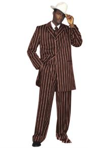 Alberto Nardoni Mens Burgundy High Fashion Single Breasted Bold Pronounce White Pinstripe Three Piece Zoot Suit