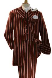 Alberto Nardoni Mens Dark Burgundy High Fashion Single Breasted Bold Pronounce White Pinstripe Three Piece Zoot Suit