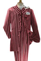 Alberto Nardoni Mens Maroon High Fashion Single Breasted Bold Pronounce White Pinstripe Three Piece Zoot Suit