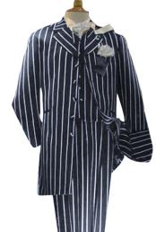 Alberto Nardoni Mens Navy Blue High Fashion Single Breasted Bold Pronounce White Pinstripe Three Piece Zoot Suit