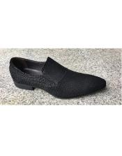Black Leather Cushioned Insole Slip On Textured Design Unique Zota Mens Dress Shoe