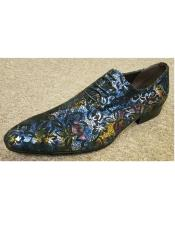 Mens Purple Cushioned Insole Multi Color Printed Four Eyelet Lacing Unique Zota Mens Dress Shoe