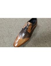 Mens Leather Three Eyelet Lacing Cushioned Insole Tan ~ Brown Cognac