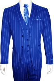 Mens Bold Gangster 1920s Vintage Gangster Bold Stripe 2 Button Vested Suit Royal Blue