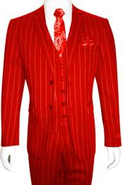 Mens Bold Gangster 1920s Vintage Gangster Bold Stripe 2 Button Vested Suit Red