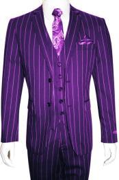 Mens Bold Gangster 1920s Vintage Gangster Bold Stripe 2 Button Vested Suit Purple