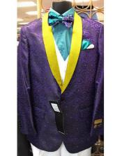 SKU#MO783 Alberto Nardoni Designer Mens Purple Floral ~ Paisley Sport Coat Blazer Dinner Jacket Tuxedo With Bright Gold lapel Shawl Collar $595