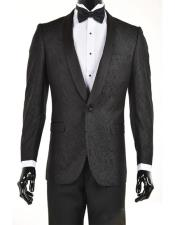 Mens Black One Button Slim Fit Velvet Paisley Suit