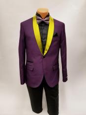 Mens One Button Bright Gold Shawl Lapel Purple Prom