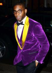 Alberto Nardoni Brand Mens Purple Velvet Tuxedo Blazer ~