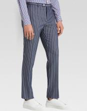 Flat Front Pant White Pinstripe Slim Fit Suit Dark Navy